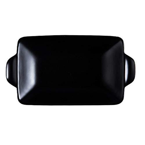 leader Plato rectangular de cerámica para hornear para asar lasaña, cacerola para horno, banquete y uso diario, color negro