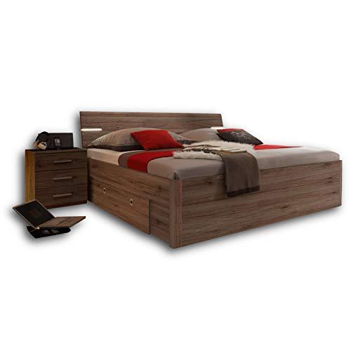 Stella Trading MARS Stilvolle Doppelbett Bettanlage 180 x 200 cm mit 2x Nachtkommoden - Schlafzimmer Komplett-Set in Eiche San Remo Optik, dunkel - 216 x 97 x 185 cm (B/H/T)