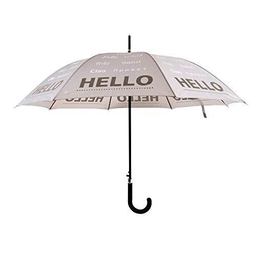 Esschert Design paraplu reflector Hello in verschillende talen, Ø 105 x 85,1 cm, polyester beige, kunststof handvat zwart