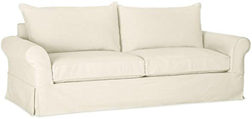 "The Cotton Sofa Cover (Width: 81""~ 85"", Not 92"" !) Fits Pottery Barn PB Comfort Roll ARM Sofa (Not Grand Sofa). A Durable Slipcover Replacement (Beige (Knife Edge))"