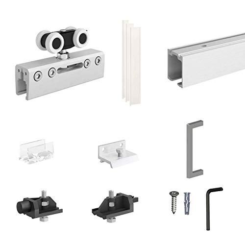 Schiebetürbeschlag SLID'UP 190 GLAS für Innenbereich, Laufschiene 200 cm, 1 Tür bis 100 kg für Glastüren, Glasschiebetüren
