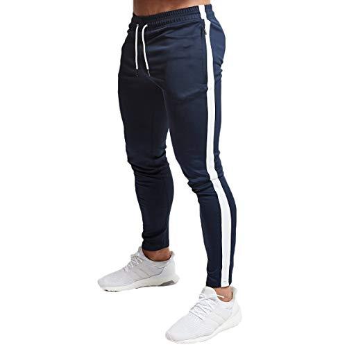 Shawnlen Herren Beiläufig Lange Trainingshose Skinny Drawstring Elastische Jogginghose für Jogger Fitness Daily Wear (M, blau mit weiß)