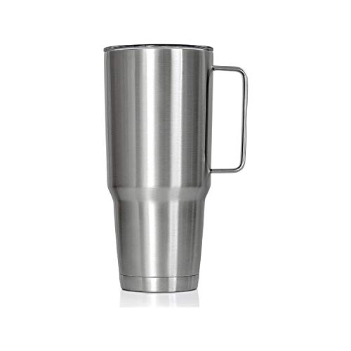 XPAC by Maxam Double Vacuum Wall Stainless Steel Tumbler with Lid, 64 Ounce, Stainless Steel With Handle, Fits in a 4' Wide Car Beverage Holder