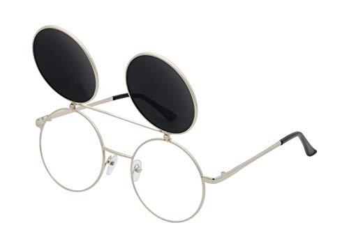 J&L Glasses Retro Gafas Para Hombres Mujeres Lente Negro Gafas, Gafas de Sol Unisex Adulto, Steampunk Flip-up (Grey, Silver)