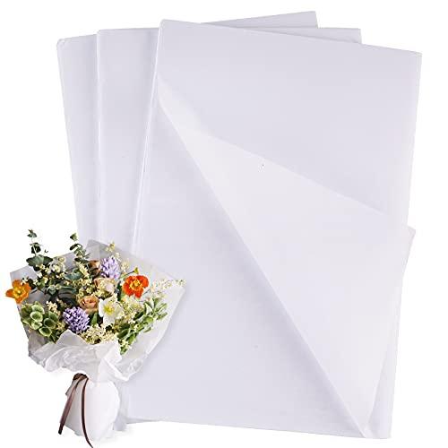 45 Pz Carta Velina Bianca per Confezioni Carta da Regalo Imballaggio Bouquet Fiori Tessuti Lavori Artigianali Fai da Te Battesimo Cresima Festa Compleanno Scrapbooking Diario (Bianco)