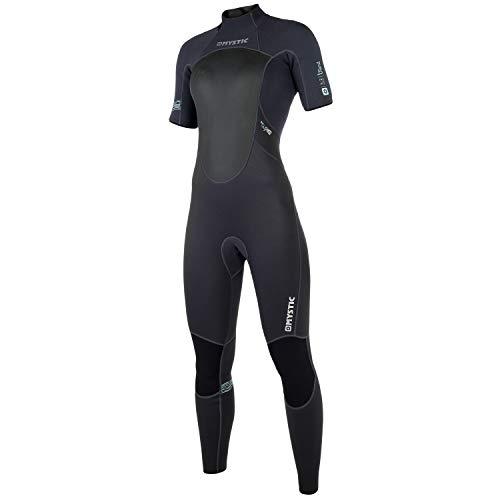 Mystic Watersports - Surf Kitesurf & Windsurfing Dames merk 3/2 mm Short Arm Back Zip Wetsuit Black - Easy Stretch