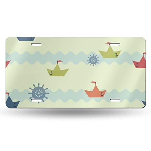 Doinh Achtergrond Patroon Van Wave Op Papier Boot License Plaat Gepersonaliseerde Eenzijdige Afdrukken Retro Licentie PlateAluminum Novelty License Plates12x6inch