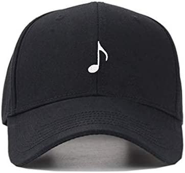 Unisex Music Note Embroidered Cotton Baseball Cap Adjustable Outdoor Cap Casual Dad Hat Black product image