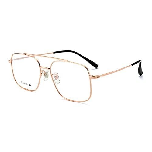 LGQ Gafas de Lectura multifocales progresivas superligeras, Montura de Titanio Puro, lectores de computadora Anti-luz Azul, Anti-radiación, Aumento de +1,00 a +3,00,Rose Gold,+1.00