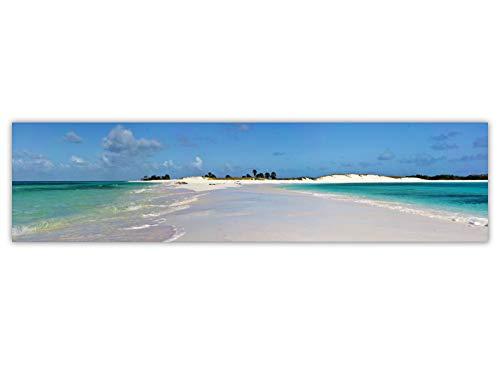 Foto Canvas Cuadro Playa de Los Roques Venezuela | Fotografía Panorámica Impresa en Lienzo | Cuadros Panorámicos Listos para Colgar | Decoración Tamaño 80 x 20 cm