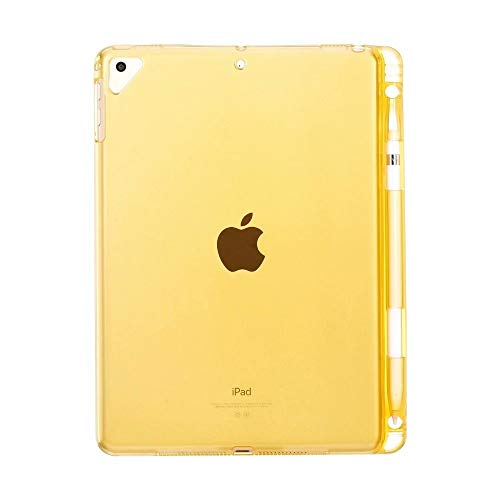 QiuKui Tab Cover For iPad MINI 5 New 7.9'', Solid Clear Tablet Pencil Case Transparent TPU Pencil holder Case for iPad MINI 5 2019 (Color : Yellow)