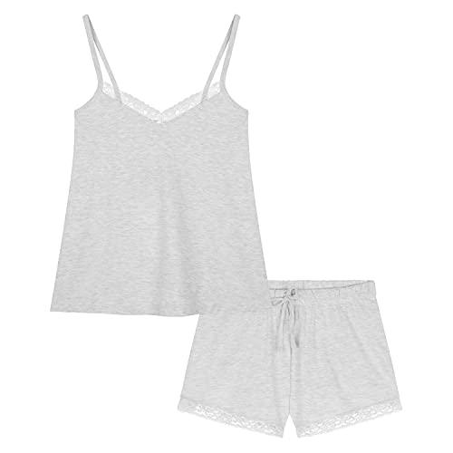 CityComfort Pijama Verano Mujer, Pijama con Camiseta Tirantes Mujer, Pijama de Algodon para Mujeres y Adolescentes S - XL (Gris, M)