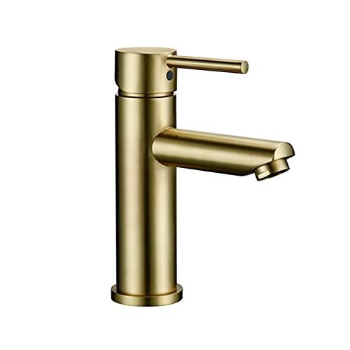 HNBMC Grifo del Lavabo del baño, Grifo de Cuenca de un Solo Orificio de un Solo Agujero, Grifo de Agua fría y Caliente, Grifo del Toque del Bidet