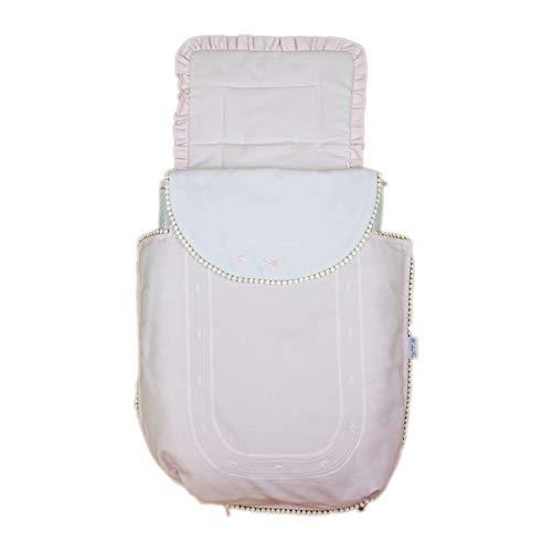 Rosy Fuentes - Saco para Capazo - 11 x 50 x 60 cm - Saco para Capazo Universal - Saco Carrito Bebé - Fabricado en Piqué - Bonito Diseño - Resistente y Duradero - Color Rosa