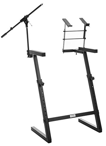 Classic Cantabile KWS-100 Z-Keyboardständer (Mikrofonstativ, Laptophalter, stabil aus Stahl, höhenverstellbar, Standbeine mit Aufsatz, professionelles Zubehör für DJ, Alleinunterhalter) schwarz