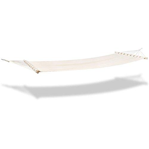 vidaXL Hangmat Stof Crèmekleurig Hangmatten Hang Mat Lounge Tuin Ligmat
