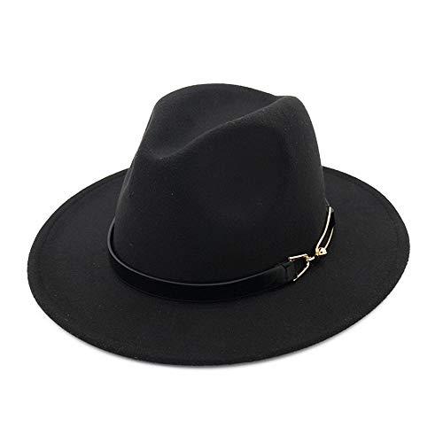 YKF-SYZ Elegante kap Jazz hoed unisex wollen muts hoed mode casual grote gesp dames Britse vier seizoenen Jazz hoed 55-58Cm11X7Cm, zwart