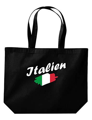 Shirtinstyle grosse Einkaufstasche Italien Flagge, Land, Länder, Schwarz