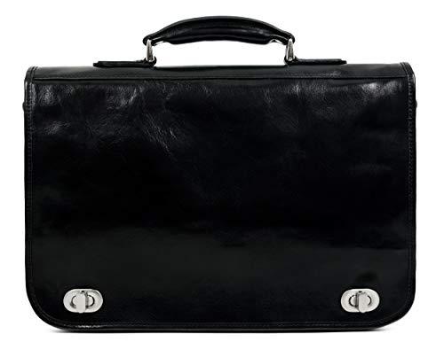 Leather Briefcase for Men Italian Handcrafted Full Grain Messenger Bag for Laptop Black - Time Resistance