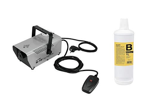 Eurolite Set N-10 Nebelmaschine in silber + B2D Basic Nebelfluid 1l | Qualitäts Nebelflüssigkeit aus Deutschland