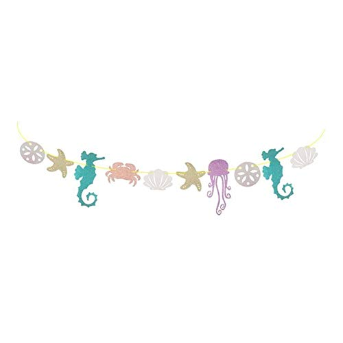 KUCHE Garland Seahorse Jellyfish Crab Sea Star Glitter Banner Party Decoration