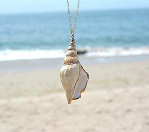 VAWAA Vientos del océano Cadena Collar caracola Concha Colgante Collar para Las Mujeres Regalo Natural