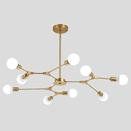 Ncloyn Nordisch Sputnik Kronleuchter,9 Flammig E27 Lampenfassung,Metall Decke Leuchte Für Modern Industrielle Zuhause Wohnzimmer Esszimmer Schlafzimmer Dekoration Pendellampe Golden 9 Flammig