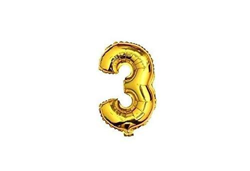 ballon - 41 cm - goud - cijferballon - cijfer 3