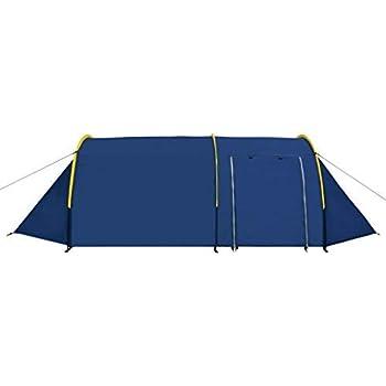 vidaXL Tente de Camping 4 Personnes Bleu Marine Bleu Clair Randonnée Voyage