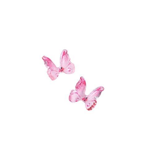 UNSKAM 3D Nagel Sticker Nail Art Handgemachte Harz Mini Nail Art Schmetterling Ornamente Zubehör 2 Stück DIY Nagelstudio Dekoration Zubehör