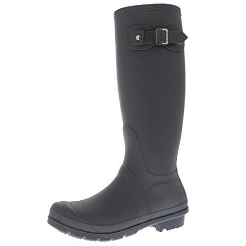 Femmes Tall Boue Boucle Promener Le Chien Neige Pluie Imperméable Wellington Boot - Rouge - UK3/EU36 - BL0293