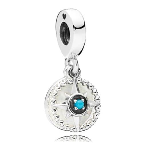ZHANGCHEN Dije de Plata de Ley 925, brújula Rosa en Plata esmaltada, con Cuentas de Cristal Azul, para Pulsera y Collar