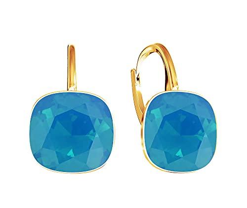 Crystals & Stones Caribbean Opal * * * * * Square * plata 925 chapado en oro 24K – Pendientes con cristales – Preciosos pendientes para mujer – Fantásticos pendientes con caja de regalo
