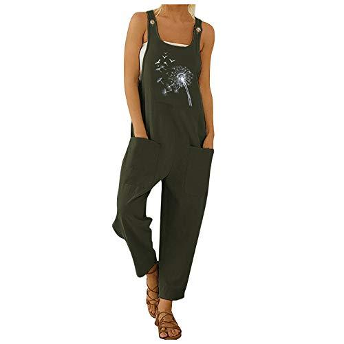 Yowablo Jumpsuit Frauen Casual Print Taschenanzug Long Playsuit Strap Button Jumpsuit (XXL,4grün)