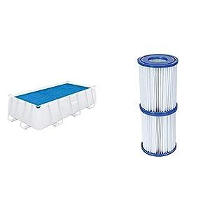 Bestway 58240 – Cobertor Solar para Piscina Desmontable 380X180 Cm Rectangular Fácil De Instalar Y Retirar + 58094 – Set De Dos Filtros De Agua Tipo II para Depuradora De Cartucho