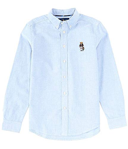 Polo Ralph Lauren Kids Boy's Cotton Oxford Sport Shirt (Blue Backpack Bear, Large (14-16))