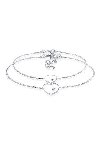 Elli Armband Damen Herz Mutter Kind Liebe mit Swarovski® Kristallen in 925 Sterling Silber Vergoldet