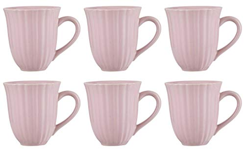 CREAFLOR HOME 6er Set Becher, Tassen English Rose rosa für 300ml H. 10cm Steingut Ib Laursen