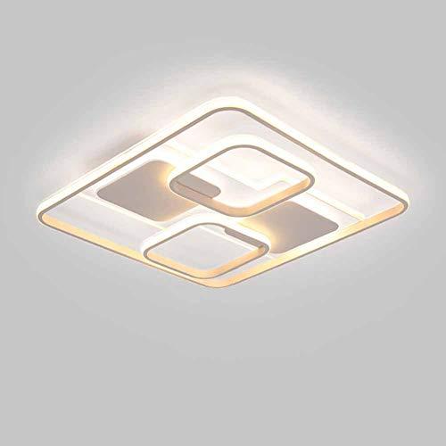 SANTITY 102W LED Lámpara de Techo Cuadrado para Dormitorio Cocina Balcón Sala de Estar Comedor Lámpara de Panel Metal Acrílico luminaria 3000K Blanco Cálido Marco Luminoso
