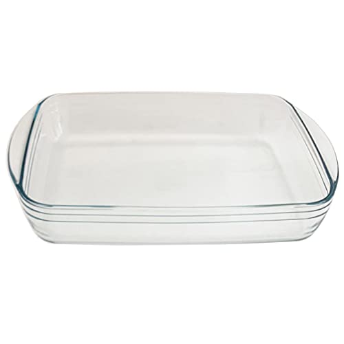 Ôcuisine - Fuente de vidrio borosilicato rectangular 3,6 L, 6,5 x 39 x 24 cm. Bandeja de cristal con asas para preparar recetas