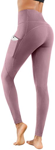 Lingswallow High Waist Yoga Pants - Yoga Pants with Pockets Tummy Control, 4 Ways Stretch Workout Running Yoga Leggings (Lilac Pink,Medium)