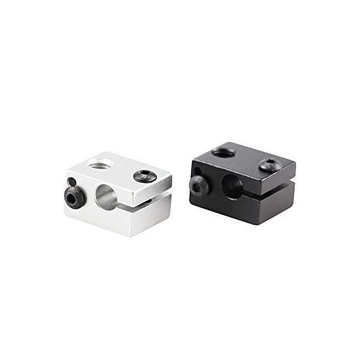 YIJIABINGRU Impresora 3D de 1pcs Extrusora V6 de Aluminio Calentador de Bloque Totalmente de Metal Extrusora for HotEnd 20x16x11.5mm (Size : Silver)