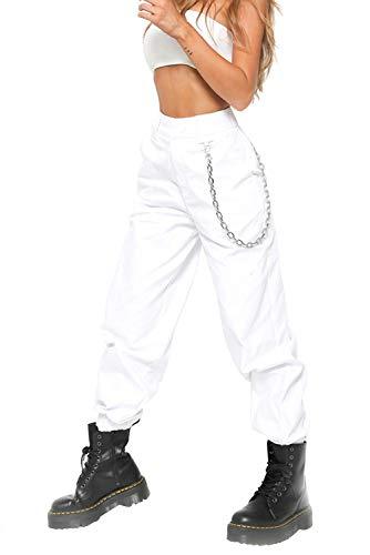 Pantalone Largo Donna con Catena e Tasche Baggy Hip Hop Harem Pants Punk Rock Lunghi Salopette Pantaloni Cargo Ragazza Moda Leggins da Danza Jogging Trekking Sport Lavoro Ufficio Straight Trousers