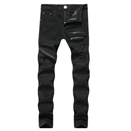 N\P Hombres Cremallera Casual Jeans Tres Color Perforado Cremallera Delgado Recto Hombres Pantalones