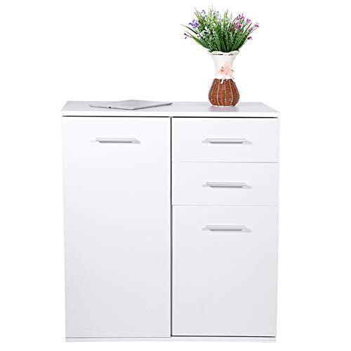 Greensen Aufbewahrungsschrank Badschrank Kommode Beistellschrank Küche Beistellschrank Badezimmerschrank Holz Küchenschrank Highboard mit Schubladen für Bad Küche oder Flur, Weiß