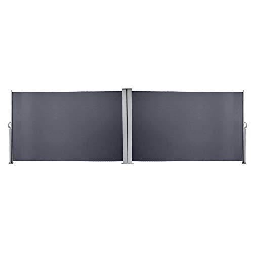 VINGO 180 x 600 cm Doppelseitenmarkise ausziehbar Anthrazit Seitenmarkise TÜV,Reißfestigkeit,seitlicher Sichtschutz sichtschutz,geprüft UV,für Balkon Terrasse ausziehbare markise