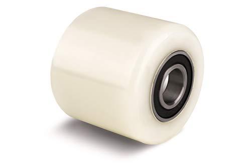 Rodillo de carga de nailon para palés (70 mm de diámetro, 60 mm de ancho, 60 mm) con rodamientos de bolas de 20 mm de diámetro, tamaño 70 x 60 x 20 mm, 450 kg