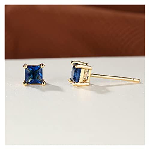 lliang Arete Pendientes pequeños de zircón de Cristal Azul 4mm Pendientes Cuadrados de Piedra Cuadrados Minimalista Pendientes de Boda de Color Oro para Mujeres Joyería de Fiesta (Metal Color : Blue)