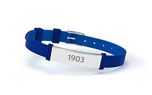 Atlético de Madrid Modisches Armband, Blau, verstellbar, für Herren, Damen und Kinder, Armband aus Silikon und Edelstahl, offizielles Produkt