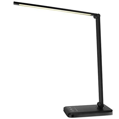Cokvok LED Schreibtischlampe, Tischleuchte, Nachttischlampe, Bürolampe mit 3 Farbmodi & 5 Helligkeitsstufen, Augenschutz LED/USB-Ladeanschluss/Touchsteuerung/Memory-Funktion, Schwarz [Energieklasse A]
